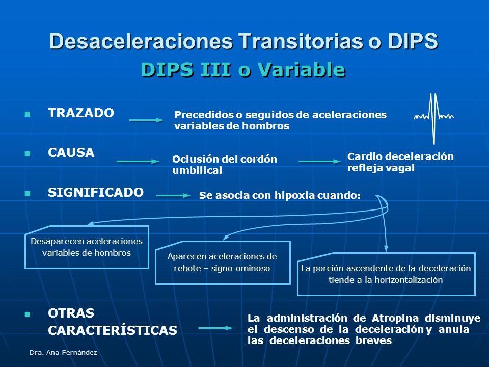 Dra. Ana Fernández Desaceleraciones Transitorias o DIPS TRAZADO CAUSA SIGNIFICADO DIPS III o Variable Oclusión del cordón umbilical Precedidos o segui