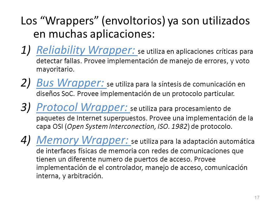 Los Wrappers (envoltorios) ya son utilizados en muchas aplicaciones: 1)Reliability Wrapper: se utiliza en aplicaciones críticas para detectar fallas.