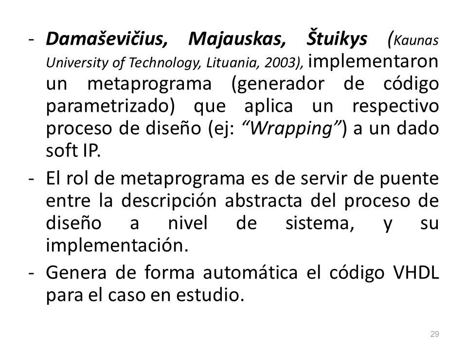 -Damaševičius, Majauskas, Štuikys ( Kaunas University of Technology, Lituania, 2003), implementaron un metaprograma (generador de código parametrizado