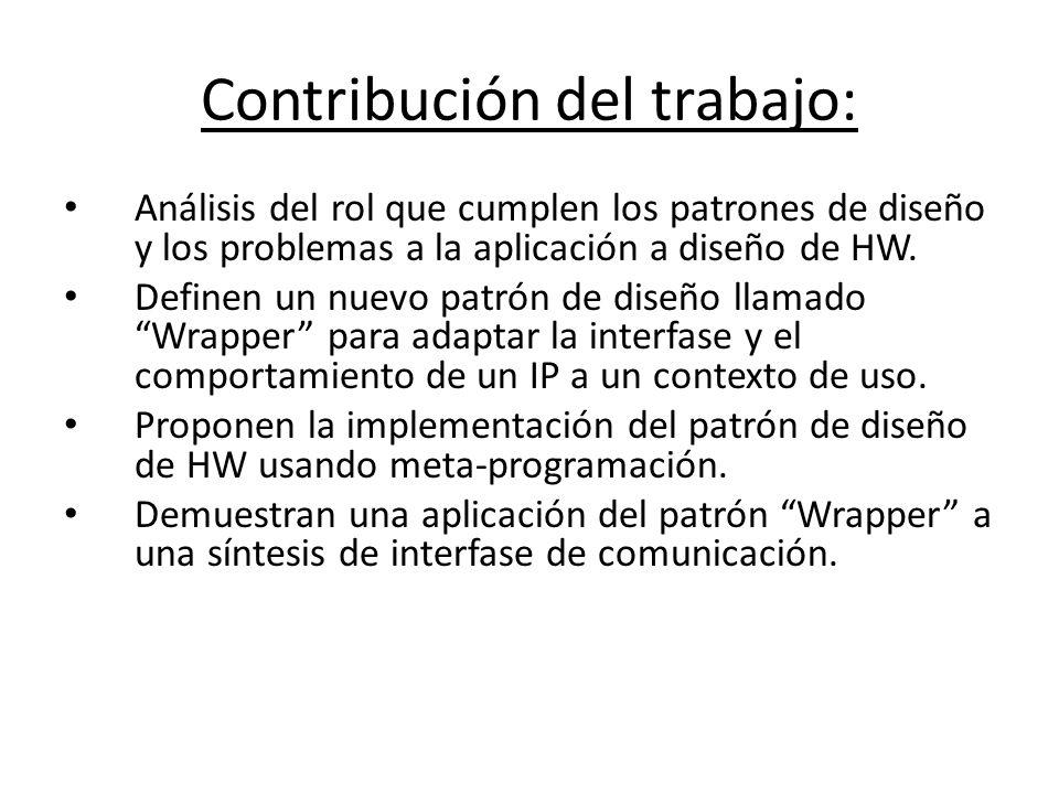 Contribución del trabajo: Análisis del rol que cumplen los patrones de diseño y los problemas a la aplicación a diseño de HW. Definen un nuevo patrón