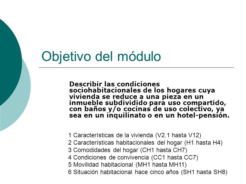 Objetivo del módulo Describir las condiciones sociohabitacionales de los hogares cuya vivienda se reduce a una pieza en un inmueble subdividido para u