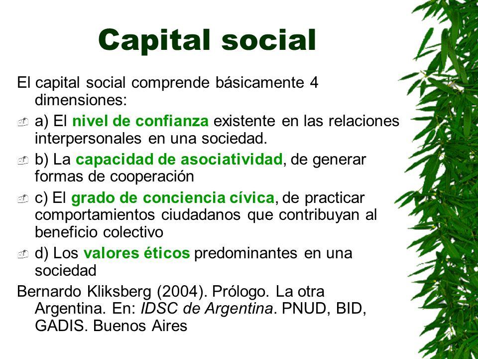 Capital social El capital social comprende básicamente 4 dimensiones: a) El nivel de confianza existente en las relaciones interpersonales en una soci