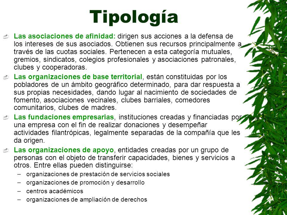 Tipología Las asociaciones de afinidad: dirigen sus acciones a la defensa de los intereses de sus asociados. Obtienen sus recursos principalmente a tr