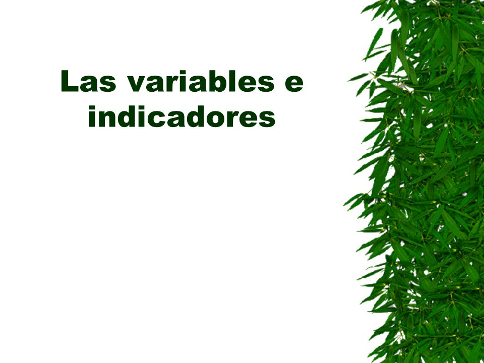 Las variables e indicadores