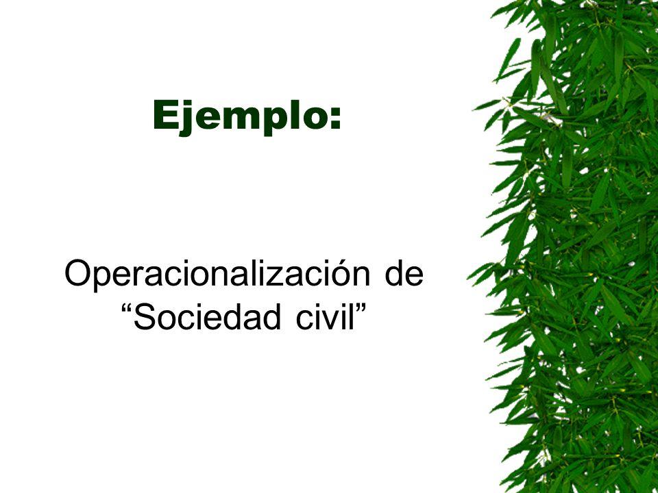 Ejemplo: Operacionalización de Sociedad civil
