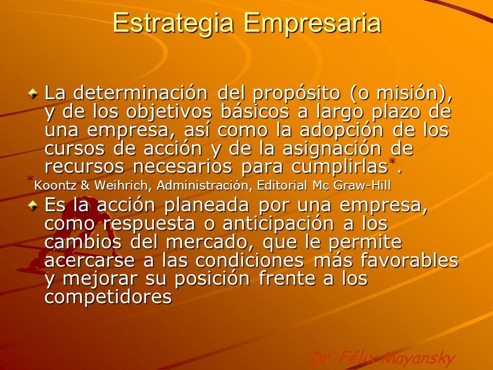 Estrategia Empresaria La determinación del propósito (o misión), y de los objetivos básicos a largo plazo de una empresa, así como la adopción de los cursos de acción y de la asignación de recursos necesarios para cumplirlas *.