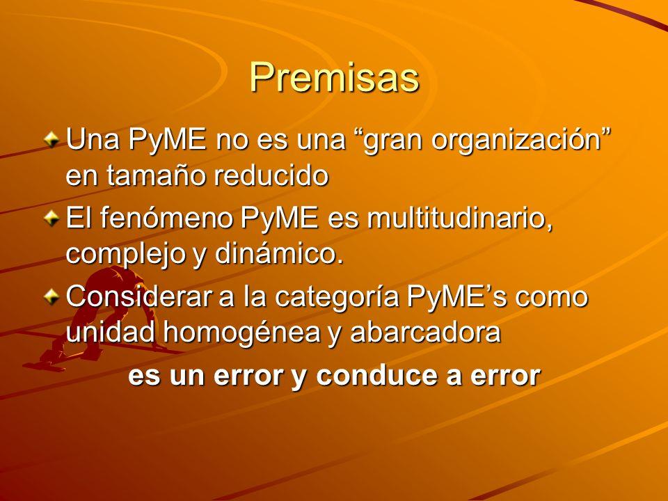 Premisas Una PyME no es una gran organización en tamaño reducido El fenómeno PyME es multitudinario, complejo y dinámico. Considerar a la categoría Py