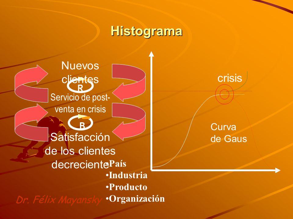 Histograma R B Servicio de post- venta en crisis Satisfacción de los clientes decreciente Nuevos clientes Curva de Gaus crisis País Industria Producto