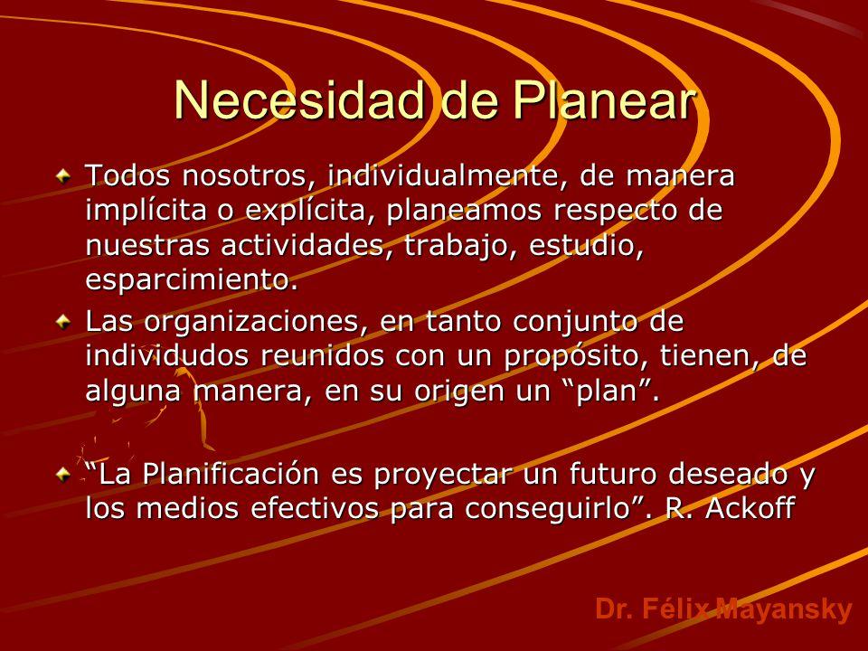 Necesidad de Planear Todos nosotros, individualmente, de manera implícita o explícita, planeamos respecto de nuestras actividades, trabajo, estudio, esparcimiento.
