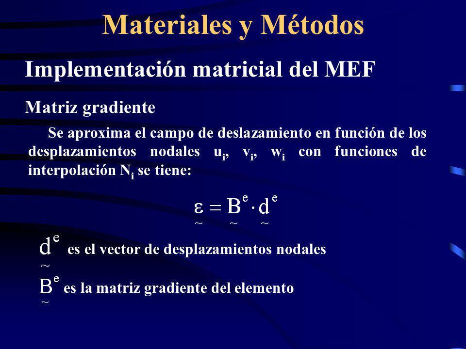 Materiales y Métodos Implementación matricial del MEF Matriz de rigidez y vector de cargas nodales equivalentes Reemplazando los campos de desplazamientos aproximados en la expresión de energía potencial total se tiene: vector de cargas nodales equivalentes del elemento matriz de rigidez del elemento