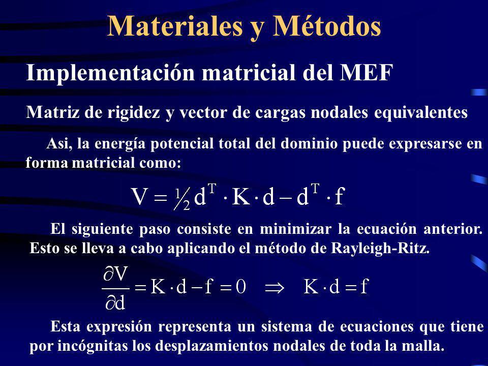 Materiales y Métodos Implementación matricial del MEF Matriz de rigidez y vector de cargas nodales equivalentes Asi, la energía potencial total del do