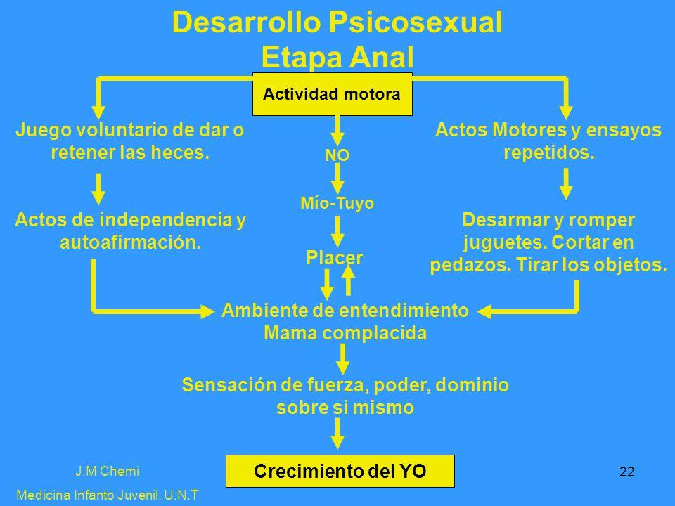 22 Desarrollo Psicosexual Etapa Anal J.M Chemi Medicina Infanto Juvenil. U.N.T Actividad motora Actos Motores y ensayos repetidos. Desarmar y romper j