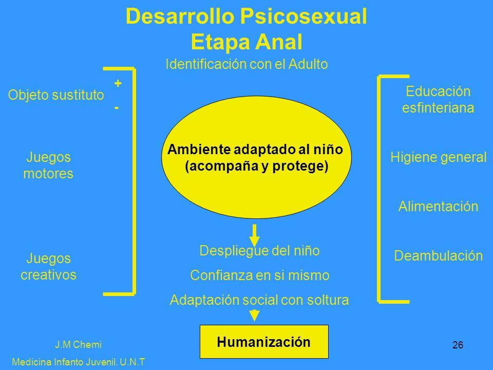 26 Desarrollo Psicosexual Etapa Anal J.M Chemi Medicina Infanto Juvenil. U.N.T Identificación con el Adulto Objeto sustituto Educación esfinteriana Hi