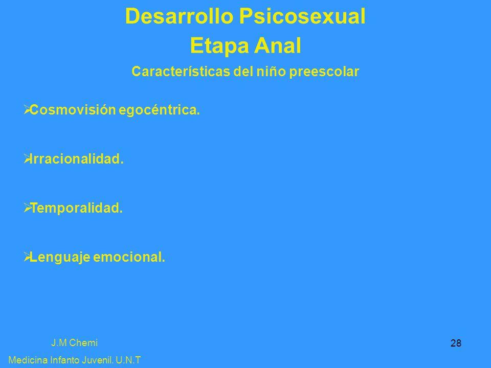28 Desarrollo Psicosexual J.M Chemi Medicina Infanto Juvenil. U.N.T Etapa Anal Características del niño preescolar Cosmovisión egocéntrica. Irracional