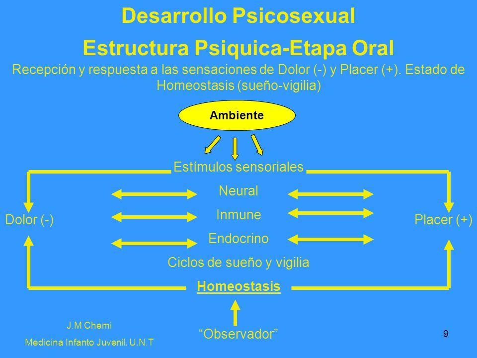 9 Desarrollo Psicosexual J.M Chemi Medicina Infanto Juvenil. U.N.T Estructura Psiquica-Etapa Oral Recepción y respuesta a las sensaciones de Dolor (-)