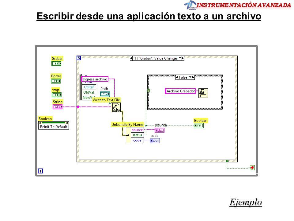 INSTRUMENTACIÓN AVANZADA Ejemplo Escribir desde una aplicación texto a un archivo