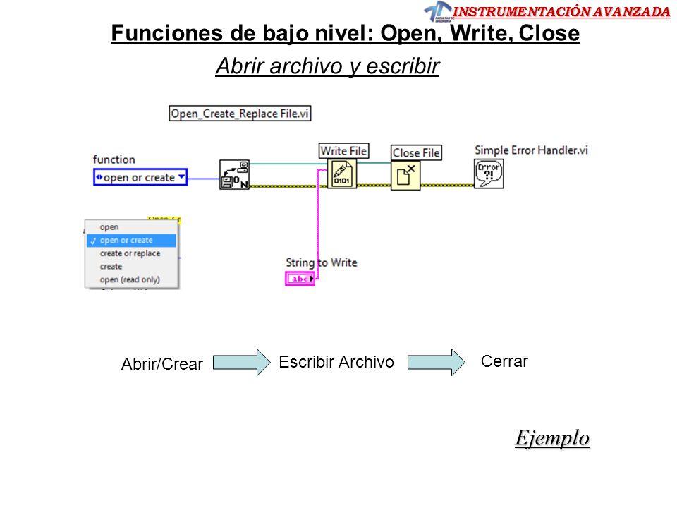 INSTRUMENTACIÓN AVANZADA Funciones de bajo nivel: Open, Write, Close Ejemplo Abrir archivo y escribir Cerrar Abrir/Crear Escribir Archivo