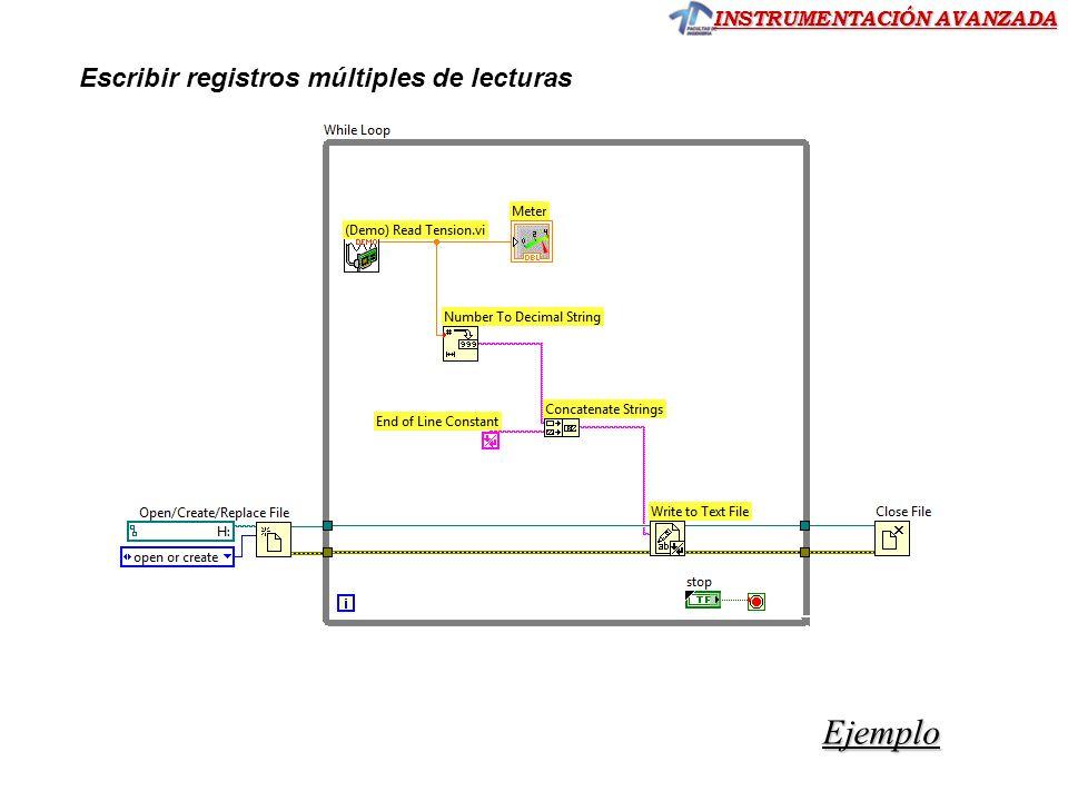 INSTRUMENTACIÓN AVANZADA Ejemplo Escribir registros múltiples de lecturas