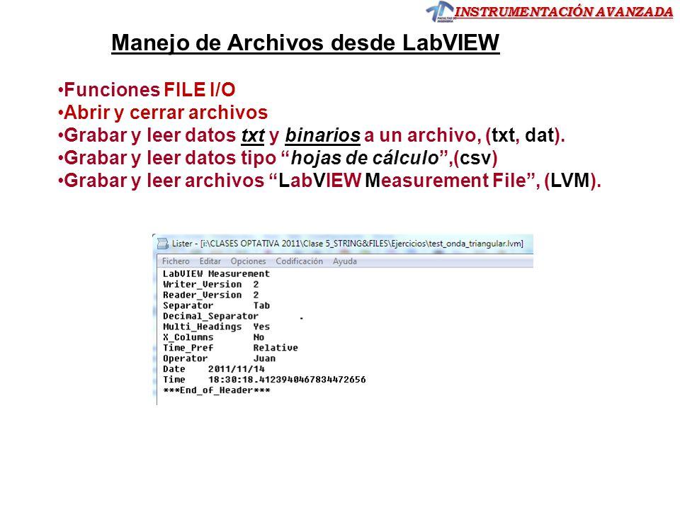 INSTRUMENTACIÓN AVANZADA Funciones FILE I/O Abrir y cerrar archivos Grabar y leer datos txt y binarios a un archivo, (txt, dat).