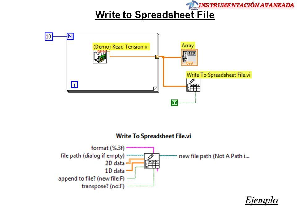 INSTRUMENTACIÓN AVANZADA Write to Spreadsheet File Ejemplo