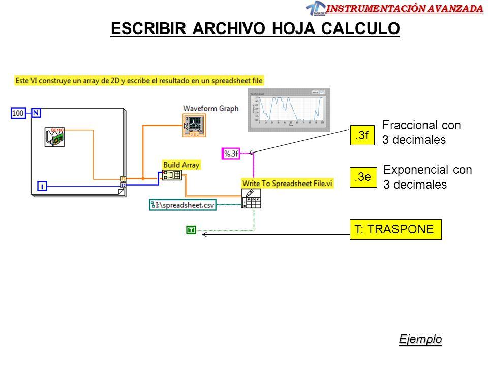INSTRUMENTACIÓN AVANZADA ESCRIBIR ARCHIVO HOJA CALCULO T: TRASPONE.3f Fraccional con 3 decimales.3e Exponencial con 3 decimales Ejemplo