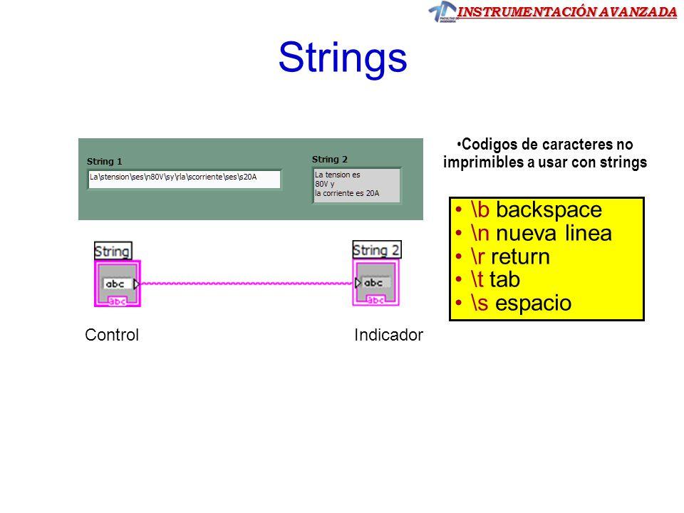 INSTRUMENTACIÓN AVANZADA Strings \b backspace \n nueva linea \r return \t tab \s espacio Codigos de caracteres no imprimibles a usar con strings ControlIndicador