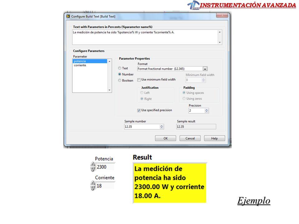 INSTRUMENTACIÓN AVANZADA Ejemplo Usando Funciones Express Build Text