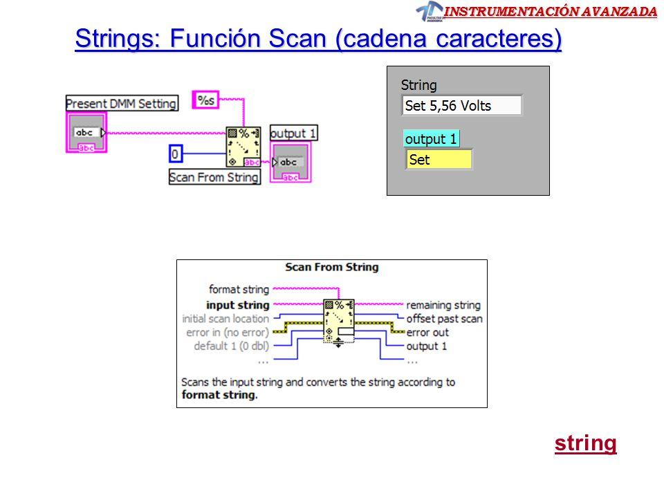 INSTRUMENTACIÓN AVANZADA Strings: Función Scan (cadena caracteres) string