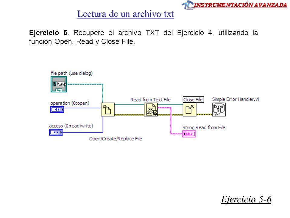 INSTRUMENTACIÓN AVANZADA Lectura de un archivo txt Ejercicio 5.