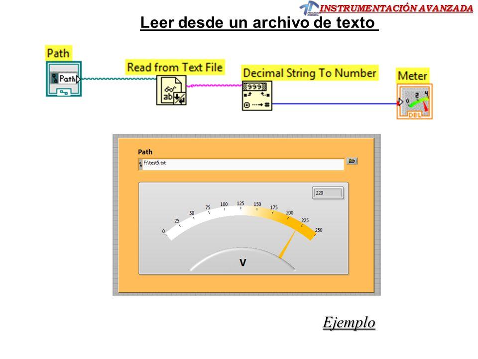 INSTRUMENTACIÓN AVANZADA Leer desde un archivo de texto Ejemplo