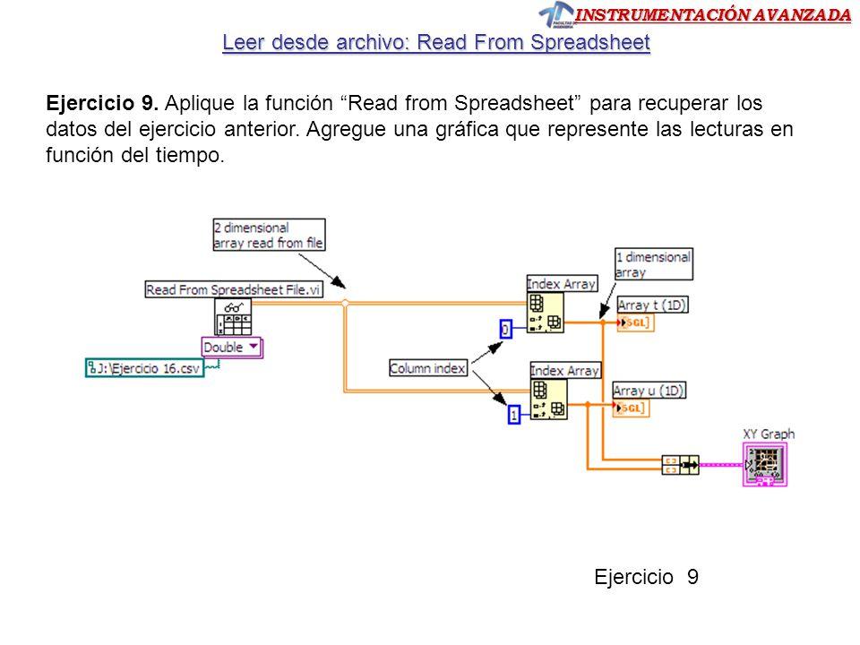 INSTRUMENTACIÓN AVANZADA Leer desde archivo: Read From Spreadsheet Ejercicio 9 Ejercicio 9.
