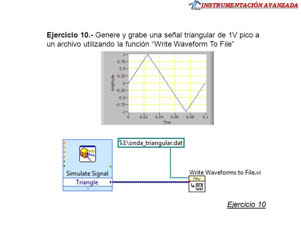 INSTRUMENTACIÓN AVANZADA Ejercicio 10.- Genere y grabe una señal triangular de 1V pico a un archivo utilizando la función Write Waveform To File Ejercicio 10 Ejercicio 10