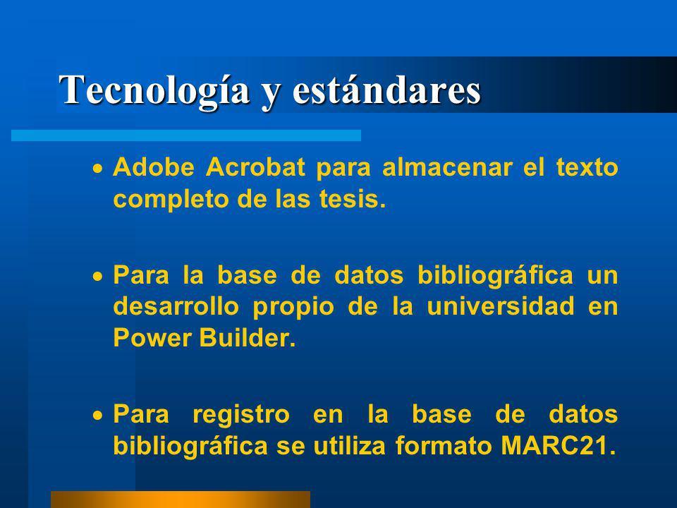 Tecnología y estándares Adobe Acrobat para almacenar el texto completo de las tesis. Para la base de datos bibliográfica un desarrollo propio de la un