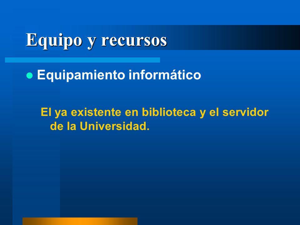 Equipo y recursos Equipamiento informático El ya existente en biblioteca y el servidor de la Universidad.
