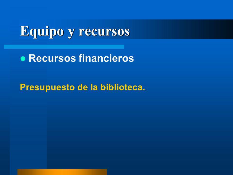 Equipo y recursos Recursos financieros Presupuesto de la biblioteca.