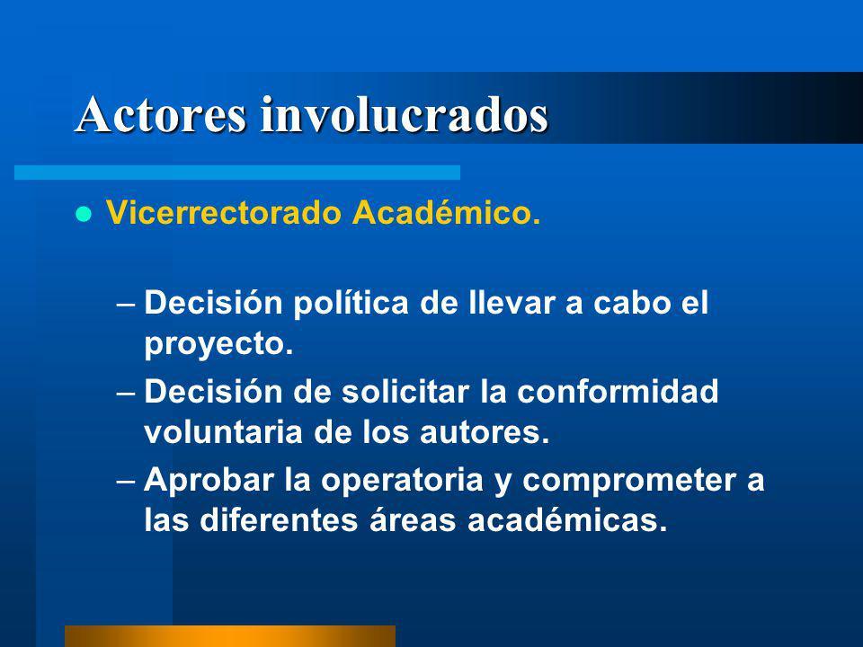 Actores involucrados Vicerrectorado Académico. –Decisión política de llevar a cabo el proyecto. –Decisión de solicitar la conformidad voluntaria de lo