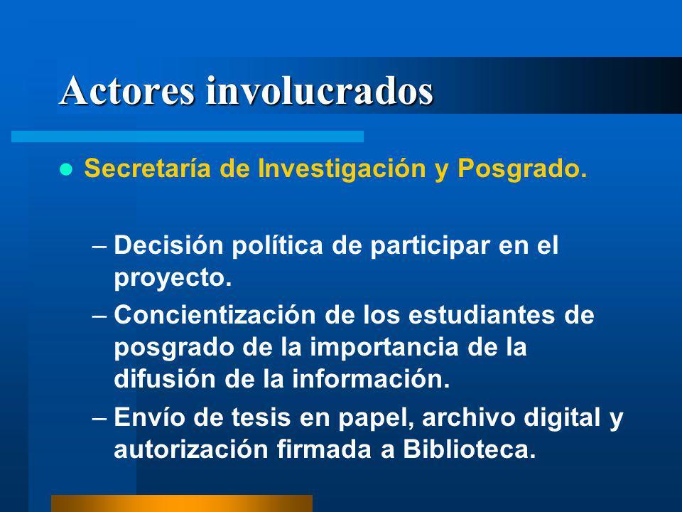 Actores involucrados Secretaría de Investigación y Posgrado. –Decisión política de participar en el proyecto. –Concientización de los estudiantes de p