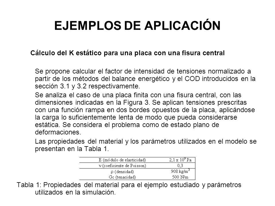 EJEMPLOS DE APLICACIÓN Cálculo del K estático para una placa con una fisura central Se propone calcular el factor de intensidad de tensiones normaliza