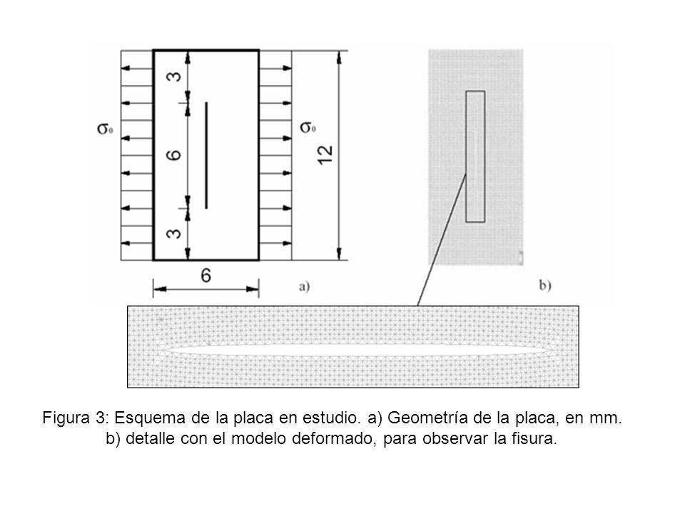 Figura 3: Esquema de la placa en estudio. a) Geometría de la placa, en mm. b) detalle con el modelo deformado, para observar la fisura.