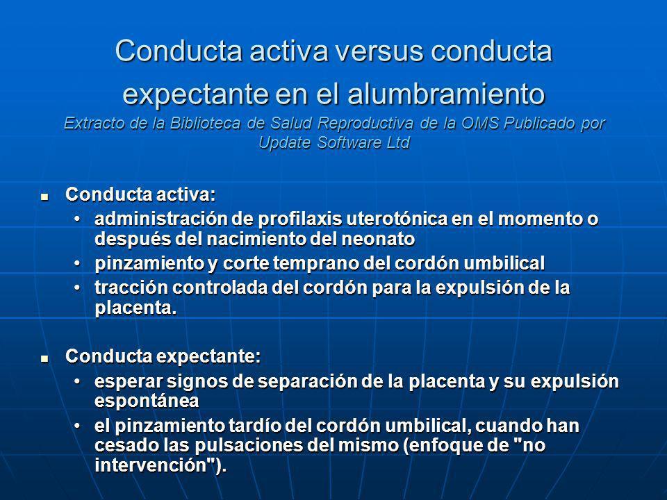 Conducta activa versus conducta expectante en el alumbramiento Extracto de la Biblioteca de Salud Reproductiva de la OMS Publicado por Update Software