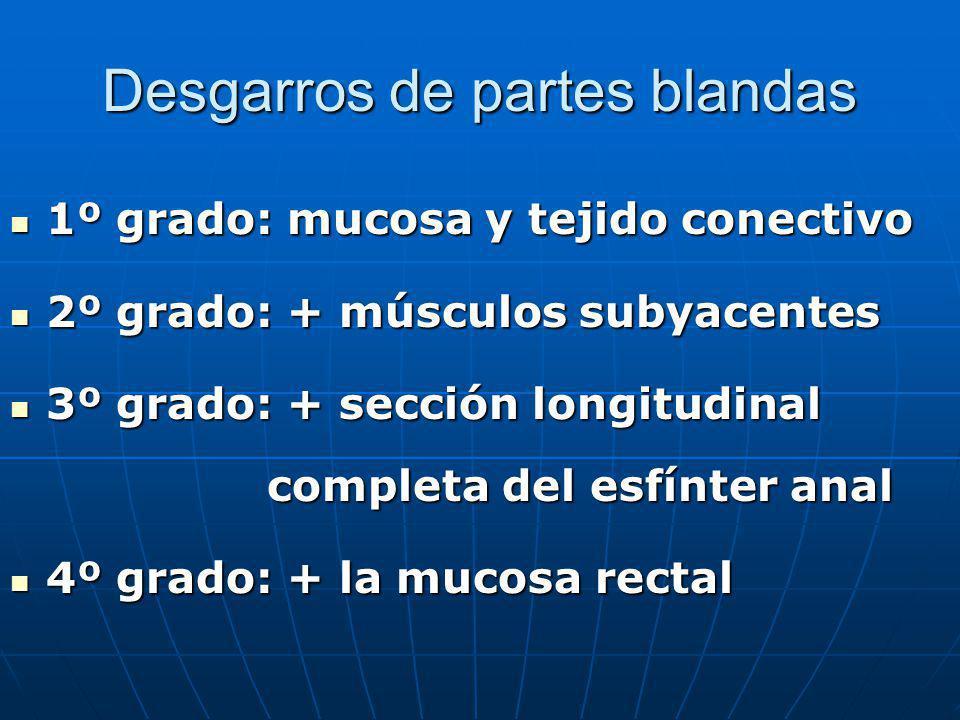 Desgarros de partes blandas 1º grado: mucosa y tejido conectivo 1º grado: mucosa y tejido conectivo 2º grado: + músculos subyacentes 2º grado: + múscu