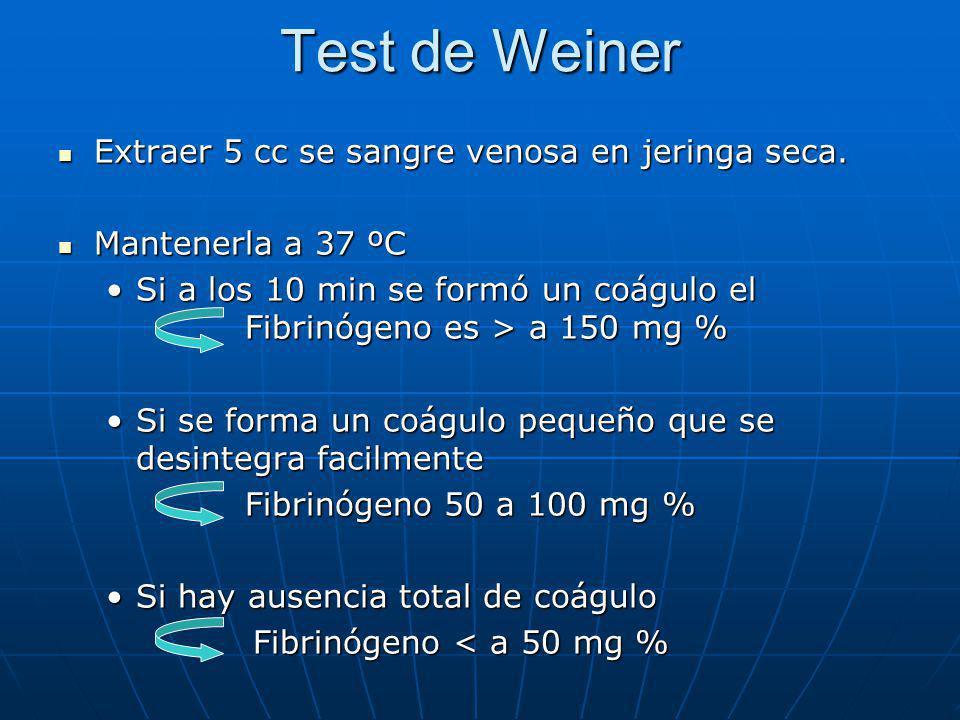 Test de Weiner Extraer 5 cc se sangre venosa en jeringa seca. Extraer 5 cc se sangre venosa en jeringa seca. Mantenerla a 37 ºC Mantenerla a 37 ºC Si