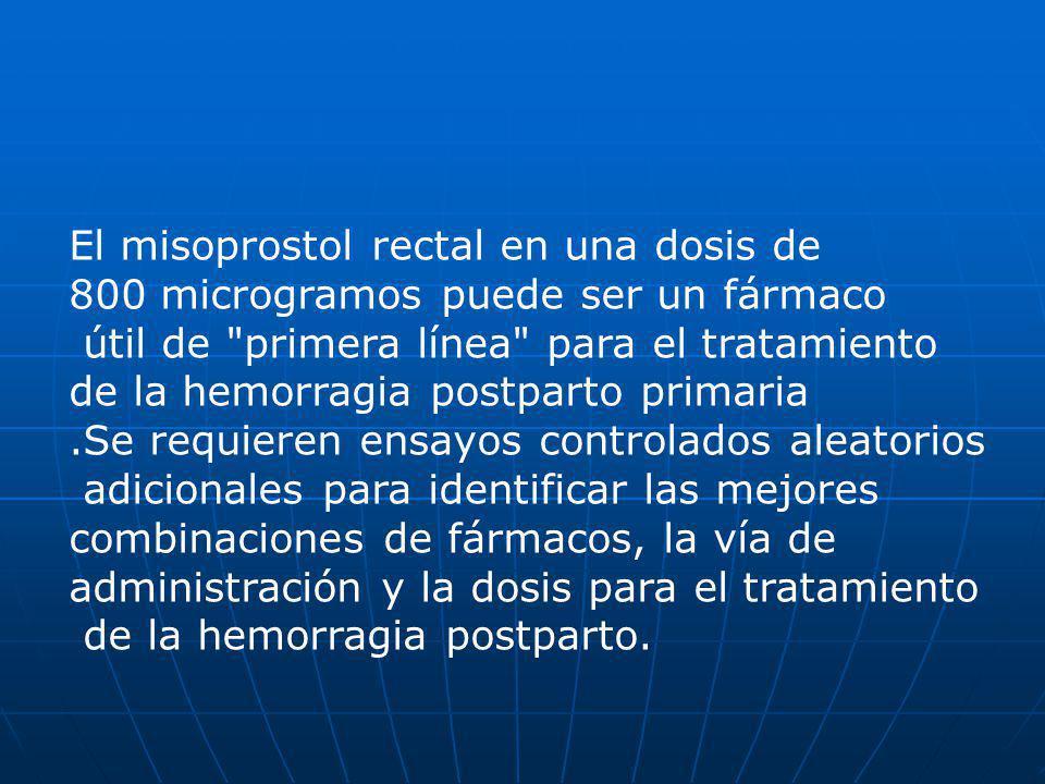 El misoprostol rectal en una dosis de 800 microgramos puede ser un fármaco útil de