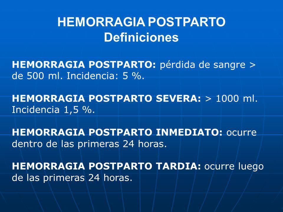 HEMORRAGIA POSTPARTO Definiciones HEMORRAGIA POSTPARTO: pérdida de sangre > de 500 ml. Incidencia: 5 %. HEMORRAGIA POSTPARTO SEVERA: > 1000 ml. Incide