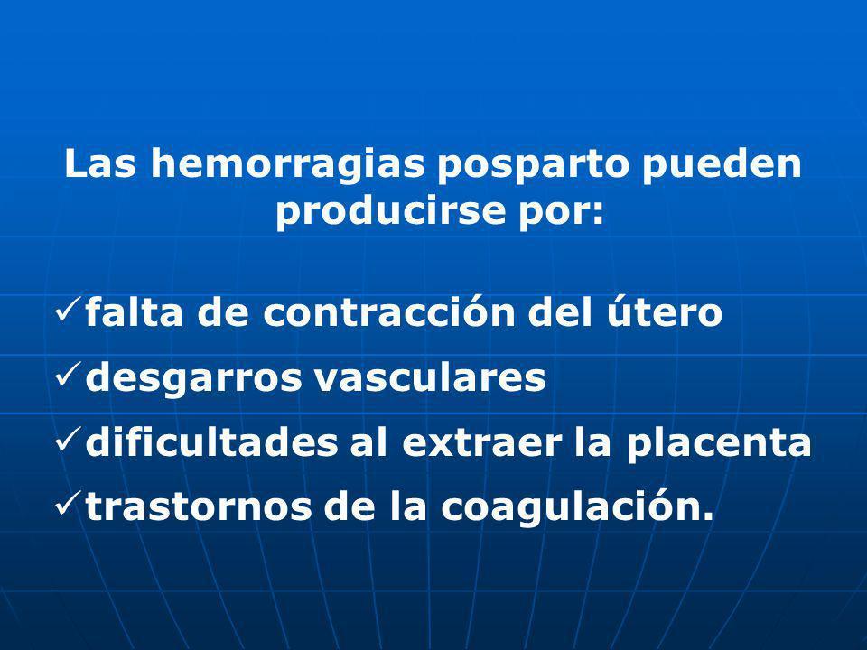 Las hemorragias posparto pueden producirse por: falta de contracción del útero desgarros vasculares dificultades al extraer la placenta trastornos de