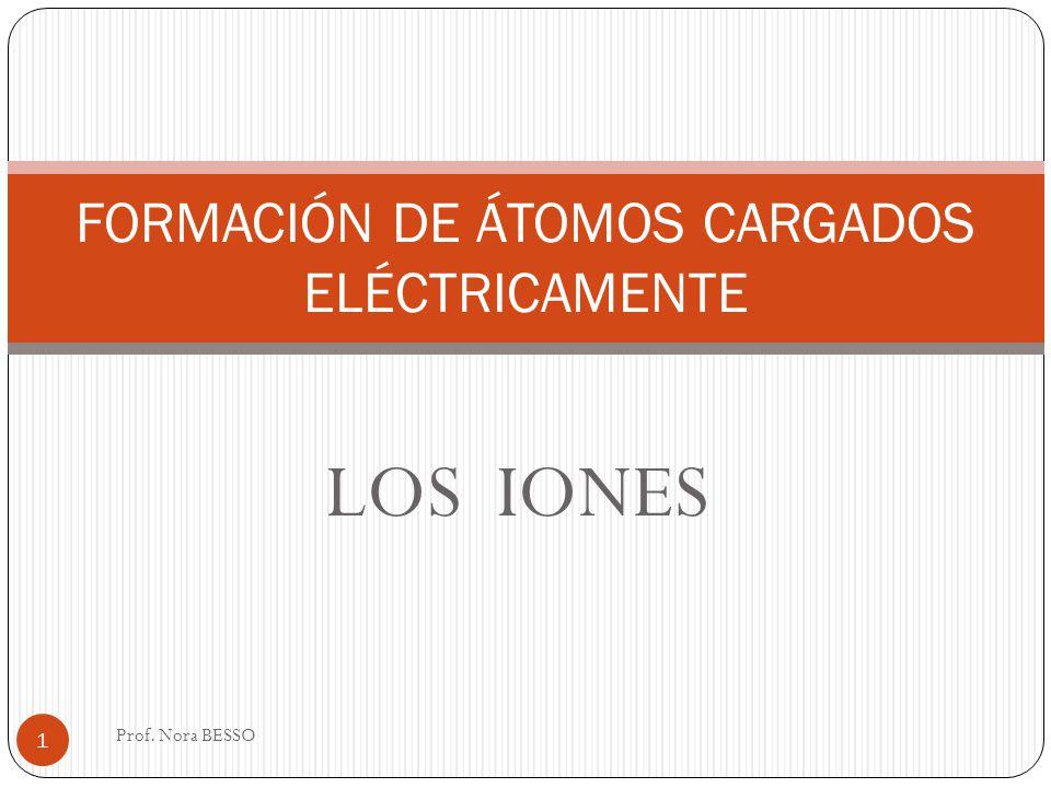 LOS IONES Prof. Nora BESSO 1 FORMACIÓN DE ÁTOMOS CARGADOS ELÉCTRICAMENTE