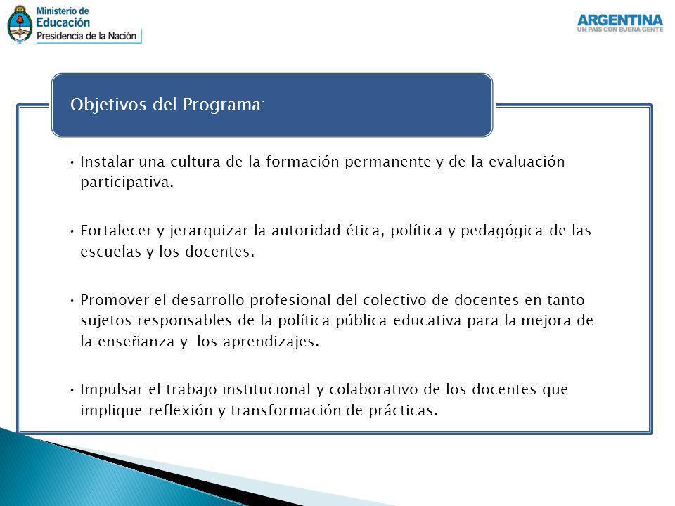 Instalar una cultura de la formación permanente y de la evaluación participativa. Fortalecer y jerarquizar la autoridad ética, política y pedagógica d
