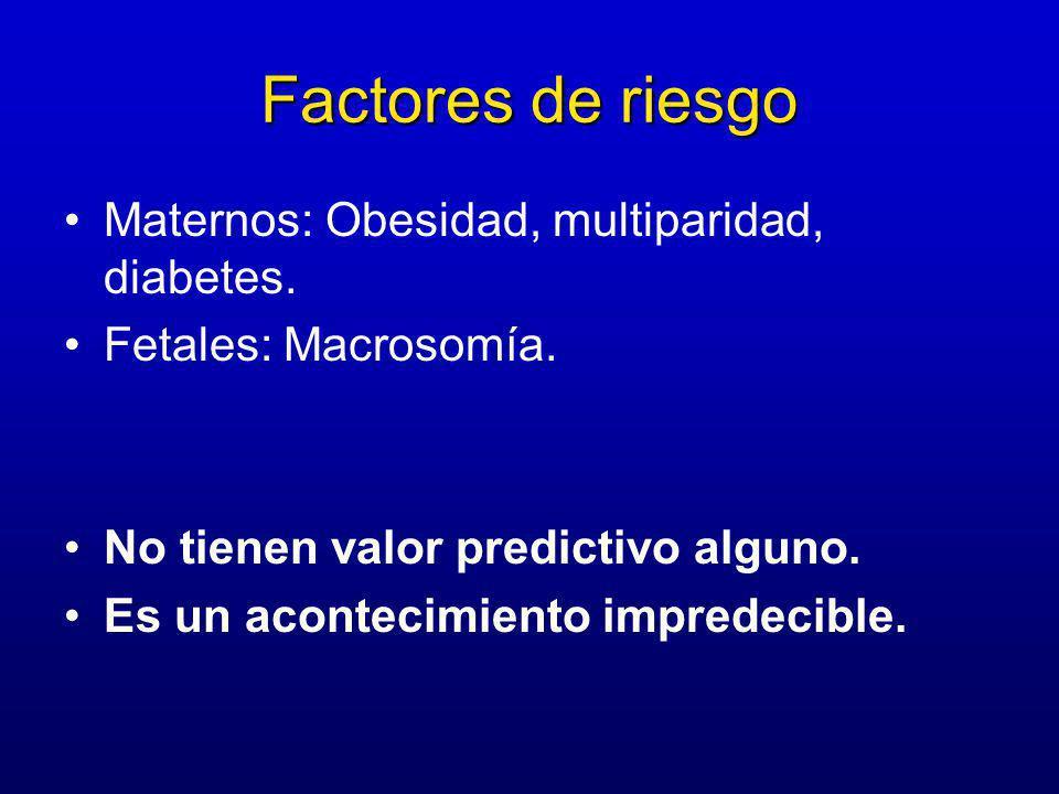 Factores de riesgo Maternos: Obesidad, multiparidad, diabetes.