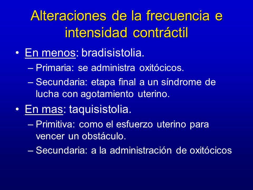 Alteraciones de la frecuencia e intensidad contráctil En menos: bradisistolia. –Primaria: se administra oxitócicos. –Secundaria: etapa final a un sínd