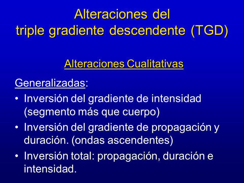 Generalizadas: Inversión del gradiente de intensidad (segmento más que cuerpo) Inversión del gradiente de propagación y duración.